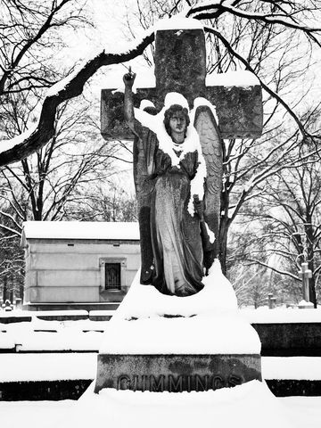 WORLD REGIONS & COUNTRIES, North America, United States of America, Missouri, St. Louis, Calvary Cemetery, architecture, landscape, cemetery, environment, weather, snow, sculpture