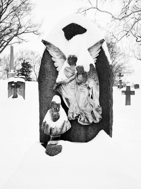 WORLD REGIONS & COUNTRIES, North America, United States of America, Missouri, St. Louis, Calvary Cemetery, architecture, landscape, cemetery, environment, weather, snow, sculpture, death