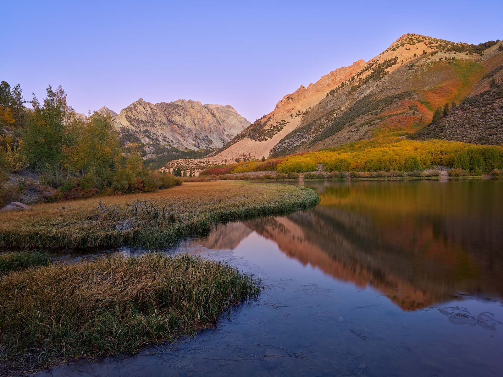 WORLD REGIONS & COUNTRIES, North America, United States of America, California, Eastern Sierra Mountains, North Lake, environment, scenery, water, lake, land, mountain, TIME OF DAY, sunrise, photo
